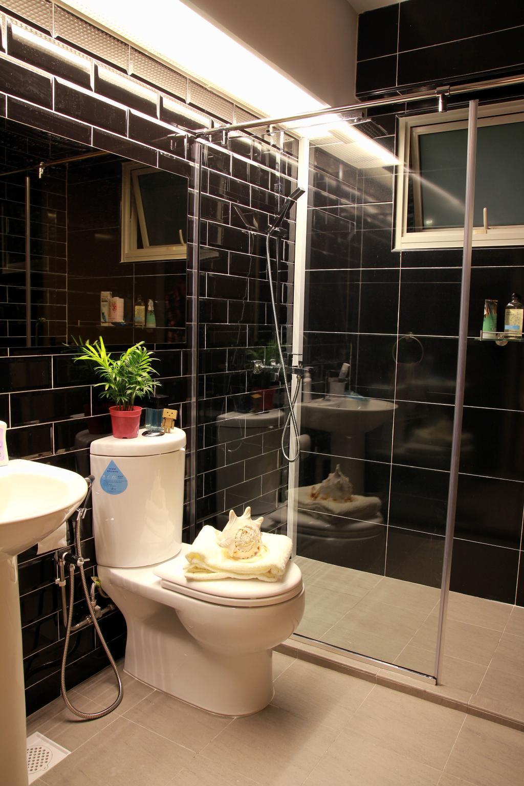 Modern, HDB, Bathroom, Punggol Sapphire, Interior Designer, Mesh Room Design, Flora, Jar, Plant, Potted Plant, Pottery, Vase