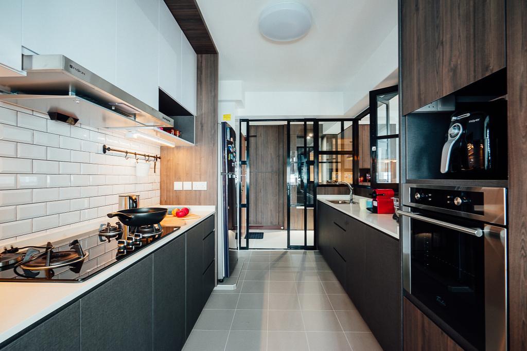 Industrial, HDB, Kitchen, Compassvale Crescent, Interior Designer, Ace Space Design, Appliance, Electrical Device, Oven, Building, Housing, Indoors, Loft, Interior Design