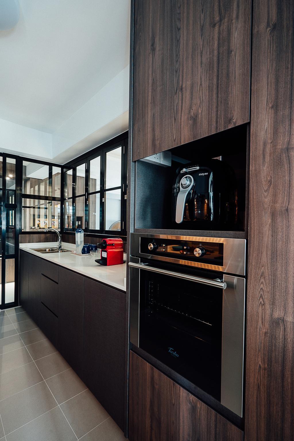 Industrial, HDB, Kitchen, Compassvale Crescent, Interior Designer, Ace Space Design, Architecture, Building, Skylight, Window