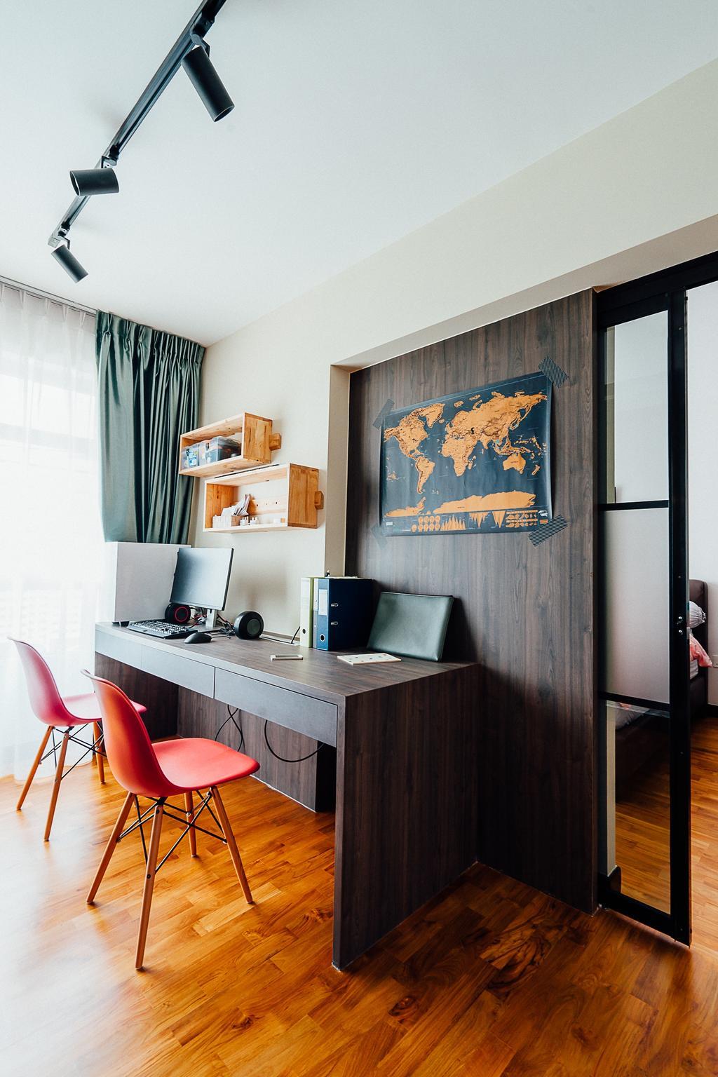 Industrial, HDB, Bedroom, Compassvale Crescent, Interior Designer, Ace Space Design, Dining Room, Indoors, Interior Design, Room