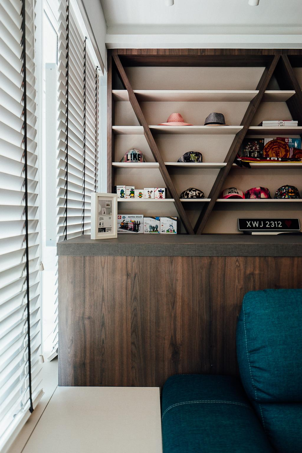 Industrial, HDB, Living Room, Compassvale Crescent, Interior Designer, Ace Space Design, Shelf