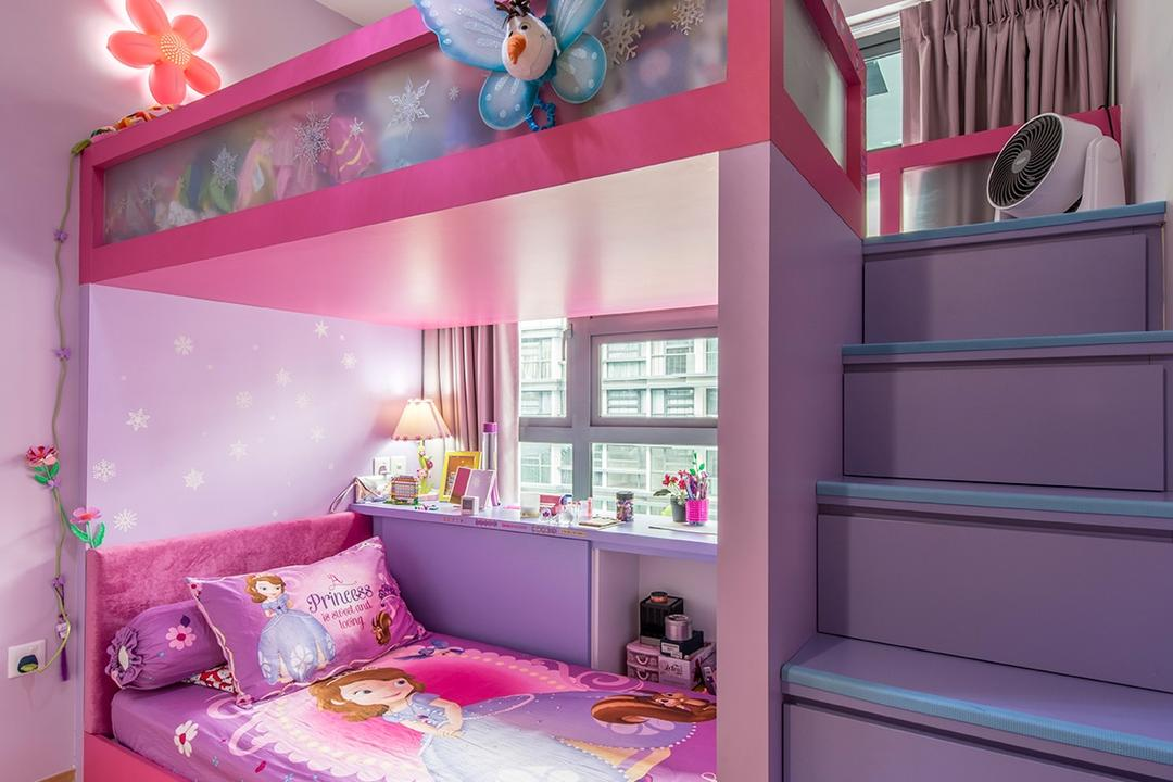 Hedges Park (Loyang), Arc Square, Traditional, Bedroom, Condo, Bunk Bed, Double Decker, Kids Room, Colourful, Pink, Purple, Kids, Cartoon, Children