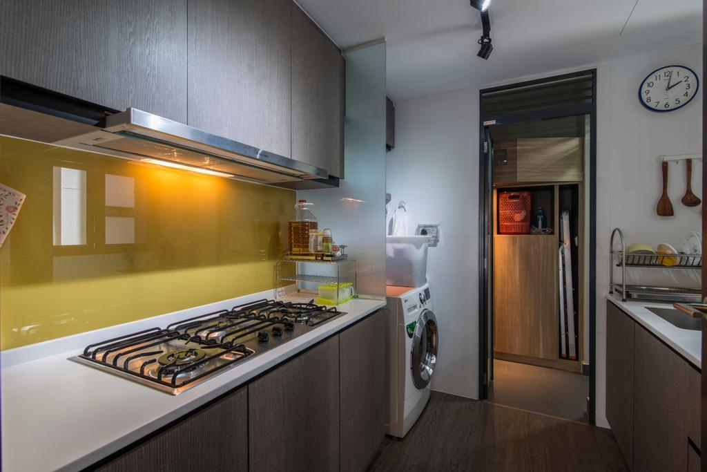 Contemporary, Condo, Kitchen, RiverParc Residence (Punggol), Interior Designer, Arc Square, Kitchen Cabinets, Stove, Backsplash, Laundry, Wooden Flooring, Dark Brown