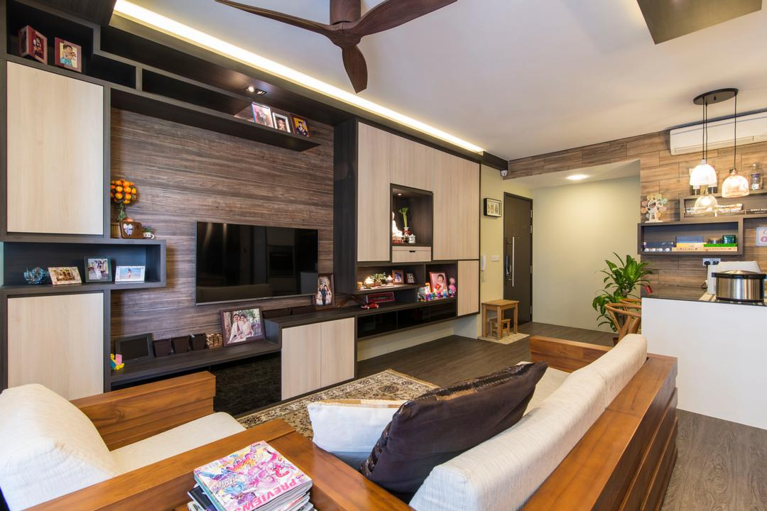 RiverParc Residence (Punggol), Arc Square, Contemporary, Living Room, Condo, Cove Lighting, Tv Console, Tv Cabinets, Shelves, Cabinetry, Feature Wall, Wall Racks, Brown, Wood, Wooden Sofa