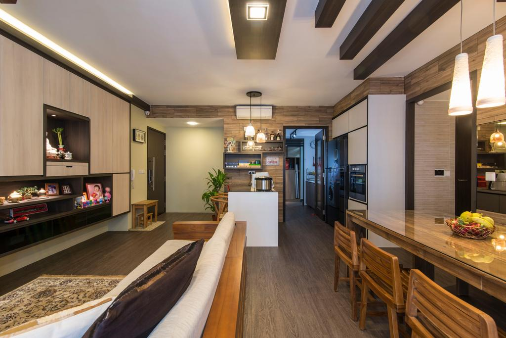 Contemporary, Condo, Dining Room, RiverParc Residence (Punggol), Interior Designer, Arc Square, Wooden Beams, Feature Wall, Shelves, Cabinets, Cabinetry, Dining Table, Dining Chairs, Wooden Flooring, Pendant Lamps, Hanging Lamps, Brown, Rustic, Wood