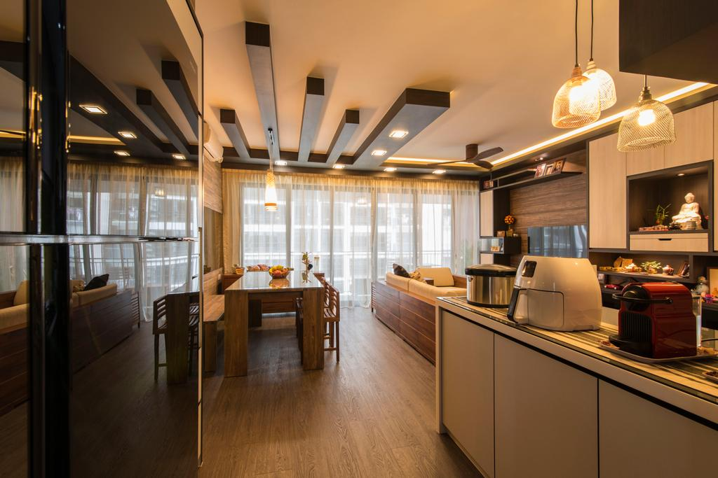 Contemporary, Condo, Kitchen, RiverParc Residence (Punggol), Interior Designer, Arc Square, Refrigerator, Kitchen Countertop, Countertop, Wooden Beams, Wooden Flooring, Wood, Pendant Lamps, Hanging Lamps, Kitchen Cabinets