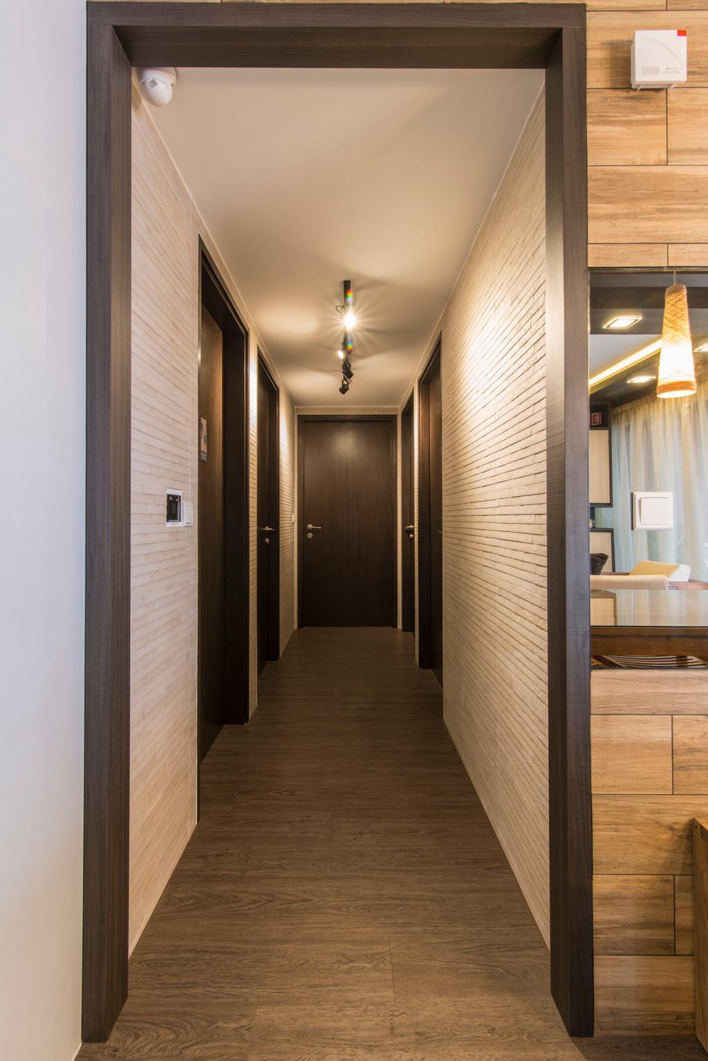 Contemporary, Condo, RiverParc Residence (Punggol), Interior Designer, Arc Square, Walkway, Alley, Wooden Flooring, Wallpaper, Wooden Wallpaper