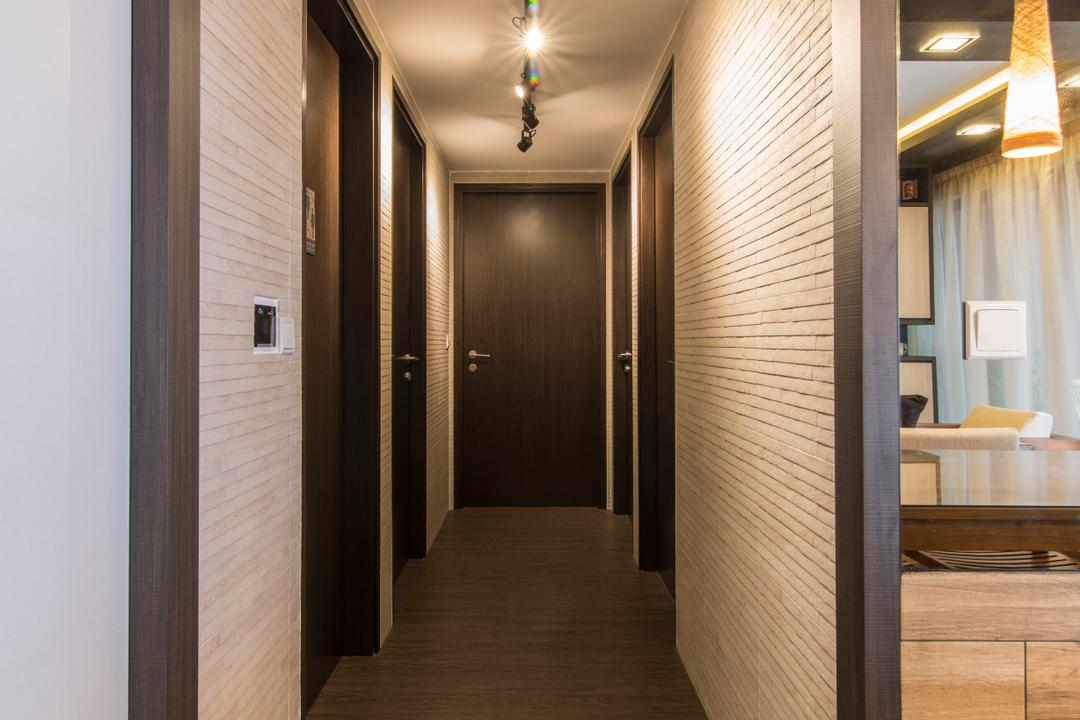 RiverParc Residence (Punggol), Arc Square, Contemporary, Condo, Walkway, Alley, Wooden Flooring, Wallpaper, Wooden Wallpaper
