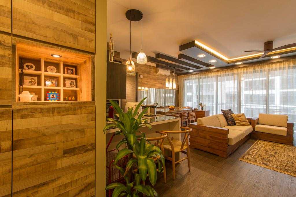 Contemporary, Condo, Living Room, RiverParc Residence (Punggol), Interior Designer, Arc Square, Cabinets, Wooden Cabinets, Hanging Lamps, Pendant Lamps, Cove Lighting, Wooden Beams, Rug, Rustic, Resort, Nature, Brown, Wooden Flooring