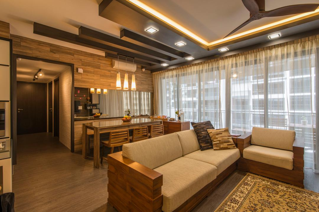 RiverParc Residence (Punggol), Arc Square, Contemporary, Living Room, Condo, Wooden Couch, Wooden Sofa, Rug, Wooden Flooring, Wooden Beams, Brown, Cove Lighting, Pendant Lamps, Hanging Lamps, Feature Wall, Dining Table, Dining Chairs