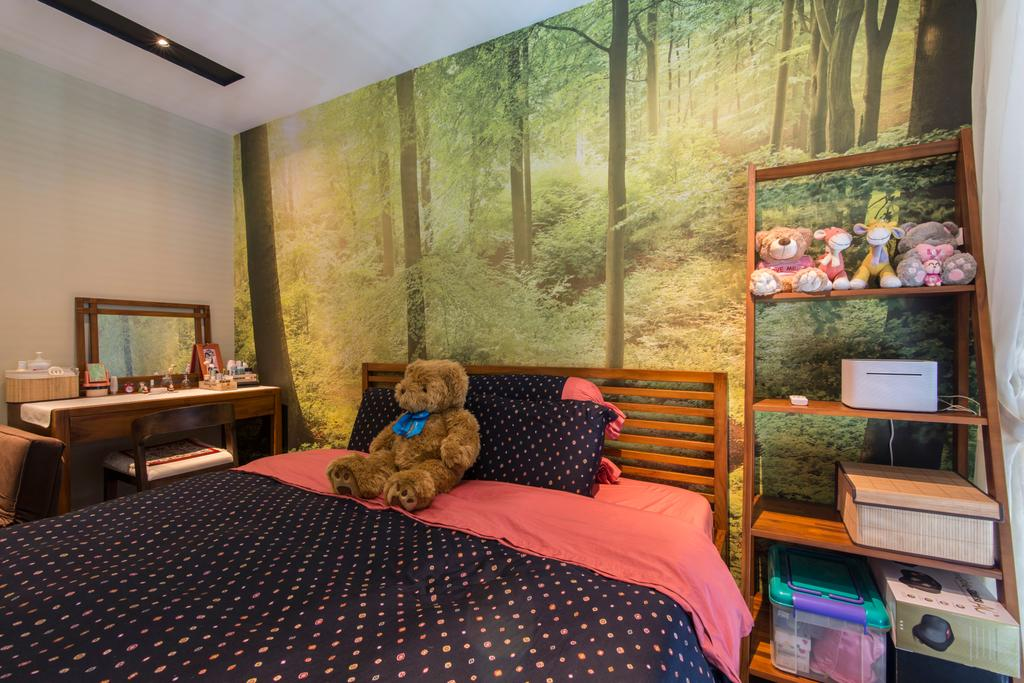 Contemporary, Condo, Bedroom, RiverParc Residence (Punggol), Interior Designer, Arc Square, Polka Dot, Pink, Wallpaper, Ladder Shelves, Vanity Table, Dressing Table
