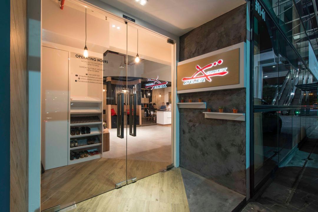 Atelier Showroom, Arc Square, Modern, Commercial, Shop Exterior, Exterior, Showroom, Shop Entrance, Glass Doors