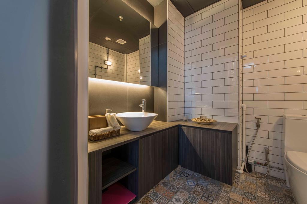 Atelier Showroom, Commercial, Interior Designer, Arc Square, Modern, Bathroom Tiles, Brick Walls, Cove Lighting, Bathroom Vanities, Bathroom Vanity Table, Floor Tiles