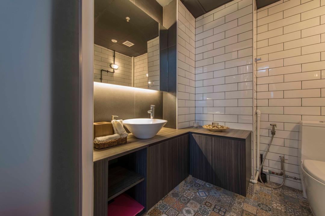 Atelier Showroom, Arc Square, Modern, Commercial, Bathroom Tiles, Brick Walls, Cove Lighting, Bathroom Vanities, Bathroom Vanity Table, Floor Tiles