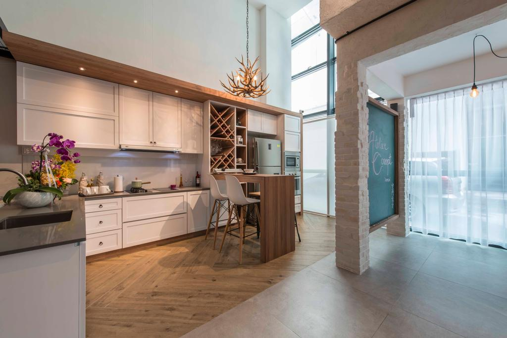 Atelier Showroom, Commercial, Interior Designer, Arc Square, Modern, Cabinets, Kitchen Cabinets, Cabinetry, White Cabinets, Dining Table, Dining Chairs, Countertop, Kitchen Countertop, Bar Countertop, Hanging Lamps, Pendant Lamps, Wine Racks, Showroom
