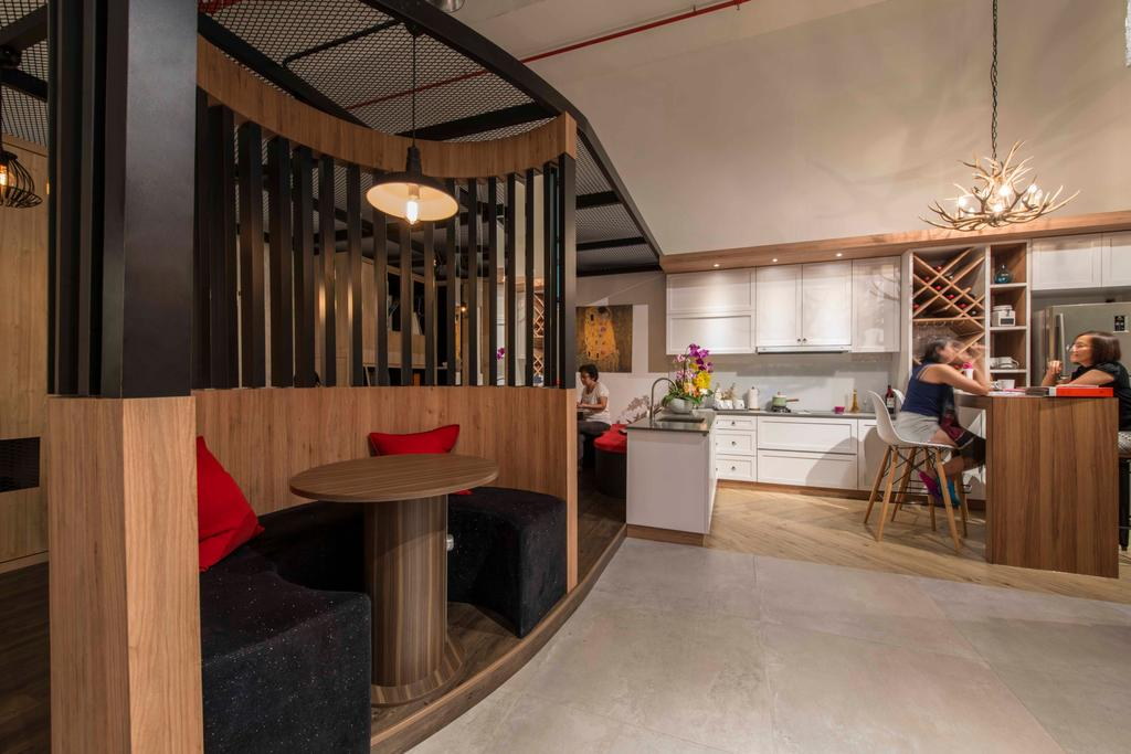 Atelier Showroom, Commercial, Interior Designer, Arc Square, Modern, Wooden Beams, Wooden Partition, Tables, Chairs, Circular Bench, Circular Couch, Hanging Lamps, Pendant Lamps, Cabinet, Cabinetry