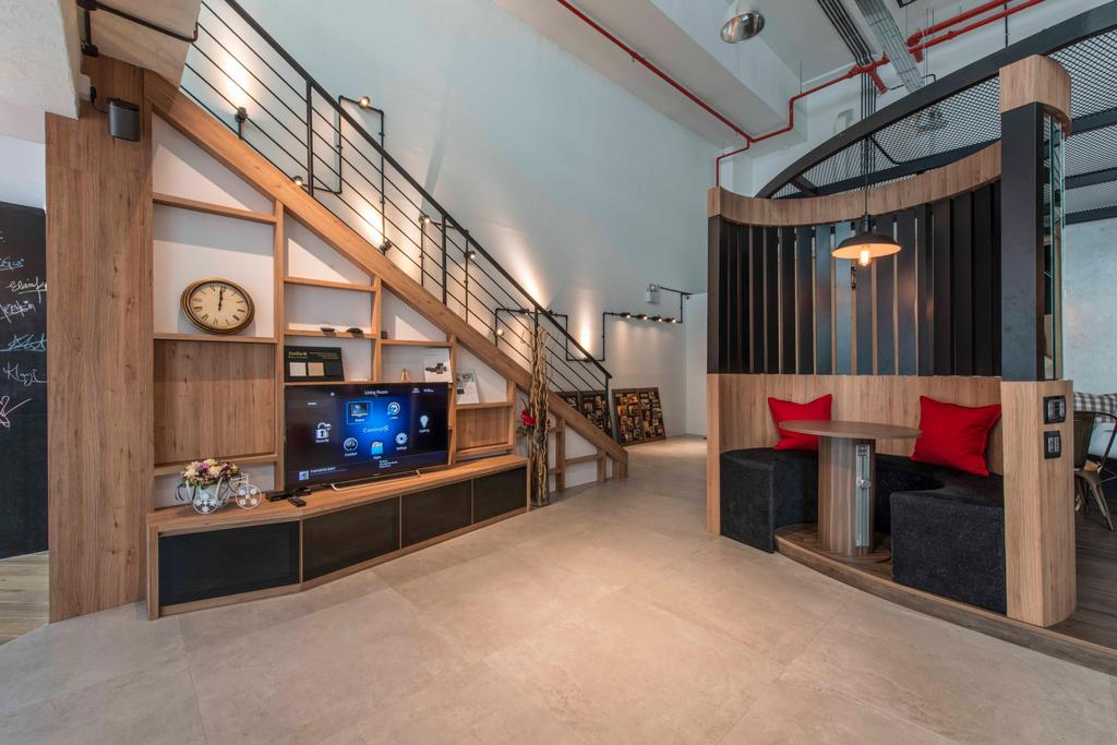 Atelier Showroom, Commercial, Interior Designer, Arc Square, Modern, Circular Bench, Circular Couch, Tables, Pendant Lamps, Hanging Lamps, Wooden Partition, Wooden Beams, Shelves, Tv Console, Tv Cabinets, Staircase, Wood, Showroom