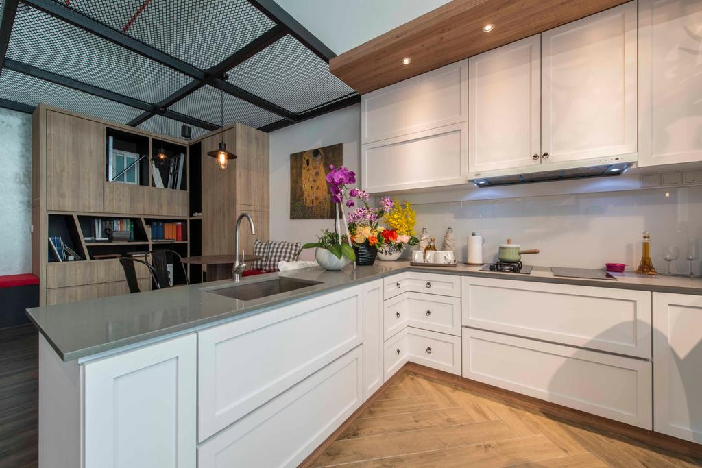 Atelier Showroom, Commercial, Interior Designer, Arc Square, Modern, Cabinets, Cabinetry, Kitchen Cabinets, White Cabinet, Bookshelf, Wood