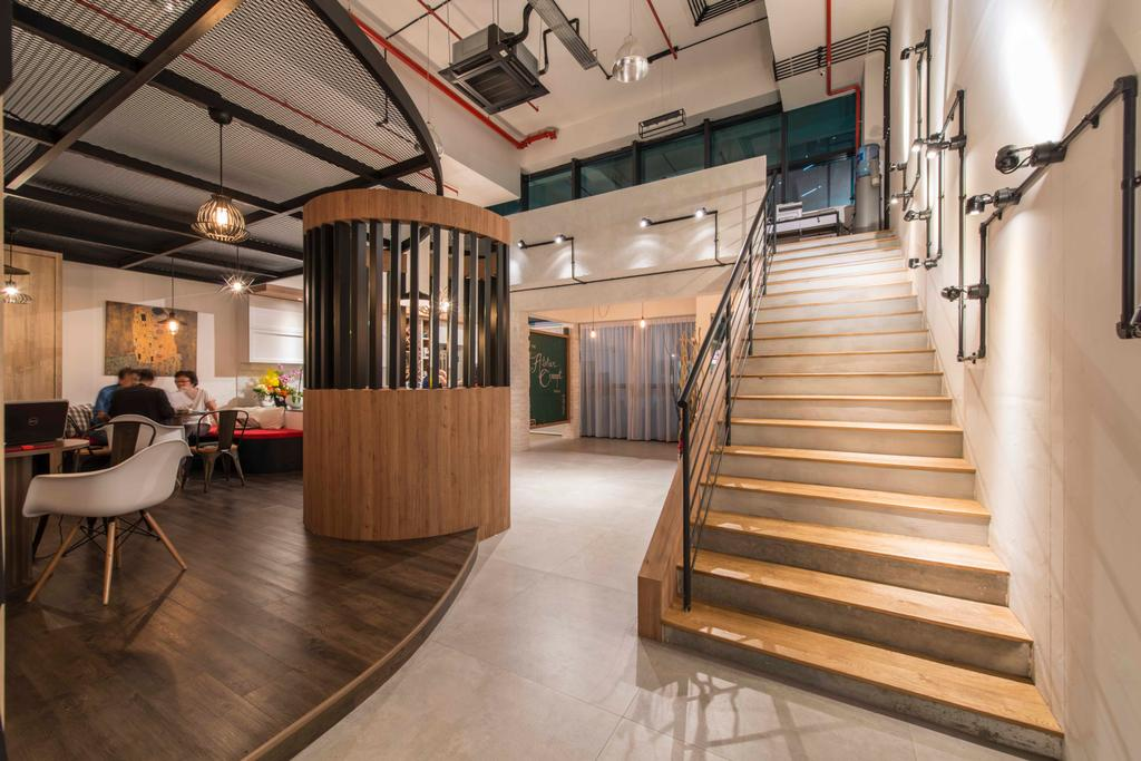 Atelier Showroom, Commercial, Interior Designer, Arc Square, Modern, Staircase, Wood, Wooden Beams, Wooden Partition, Exposed Ceiling, Hanging Lamps, Pendant Lamps, Showroom