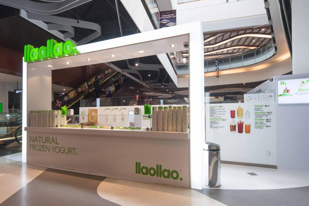 Llao Llao (Bugis), Unity ID, Minimalistic, Commercial, Shop Exterior, Shop Entrance, Counter, Shop Counter, Food Booth, Booth