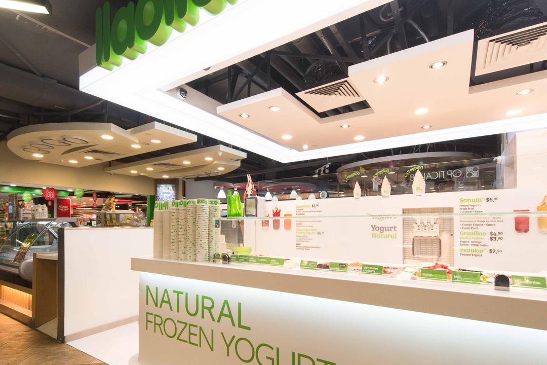 Llao Llao (Causeway Point), Unity ID, Minimalistic, Commercial, Shop Entrance, Counter, Shop Counter, Booth, Concealed Lighting, White
