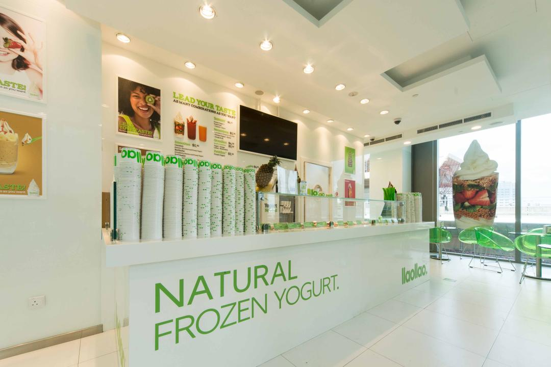 Llao Llao (Westgate), Unity ID, Minimalistic, Commercial, Shop Interior, Shop Counter, Counter, Recessed Lighting, White, All White