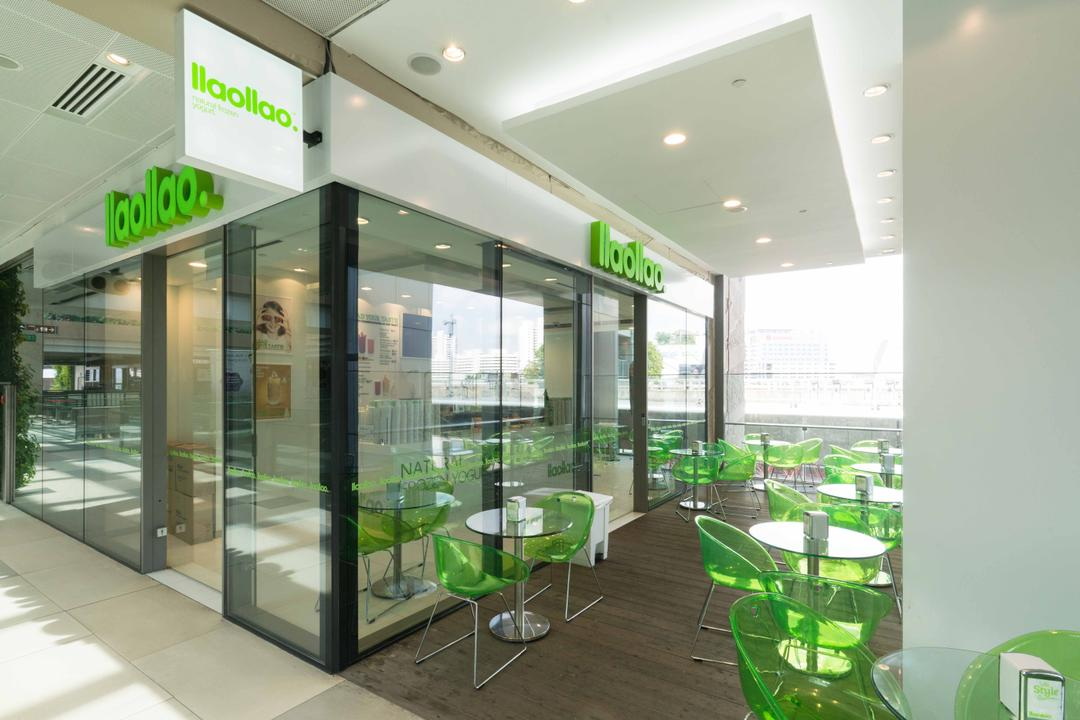 Llao Llao (Westgate), Unity ID, Minimalistic, Commercial, Shop Exterior, Shop Entrance, Glass Doors, Outdoor Dining, Dining Tables, Dining Chairs