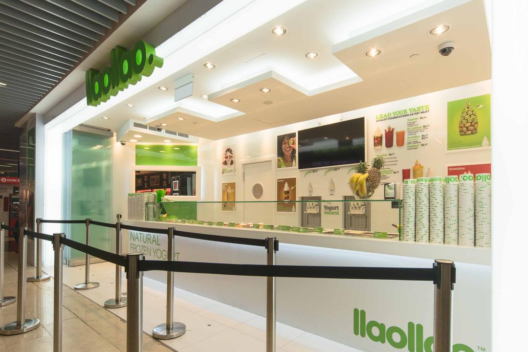 Llao Llao (Wisma Atria), Unity ID, Minimalistic, Commercial, Shop Entrance, Shop Interior, White, All White, Concealed Lighting, Counter, Shop Counter