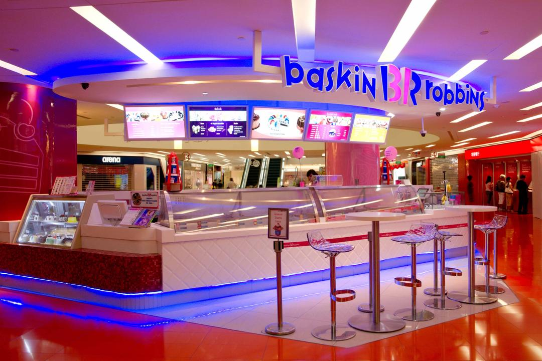 Baskin Robbins (Clementi), Unity ID, Contemporary, Commercial, Shop Entrance, Shop Exterior, Concealed Lighting, Pink, Blue, Counter, Quilt