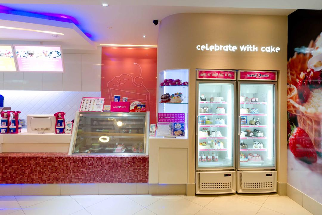 Baskin Robbins (Novena Square), Unity ID, Contemporary, Commercial, Shop Interior, Counter, Freezer, White, Pink, Concealed Lighting