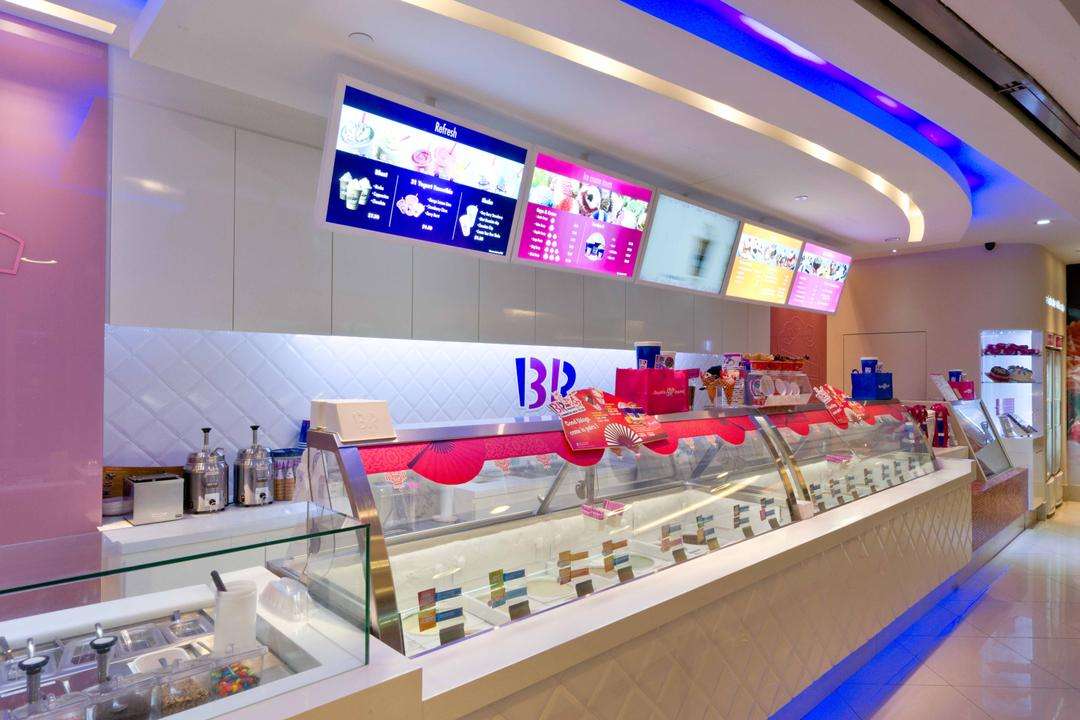 Baskin Robbins (Novena Square), Unity ID, Contemporary, Commercial, Shop Interior, Counter, White, Pink, Concealed Lighting