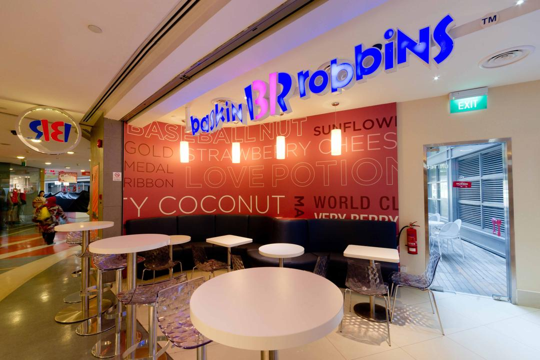 Baskin Robbins (Novena Square), Unity ID, Contemporary, Commercial, Shop Exterior, White, Dining Tables, Dining Chairs, Shop Entrance