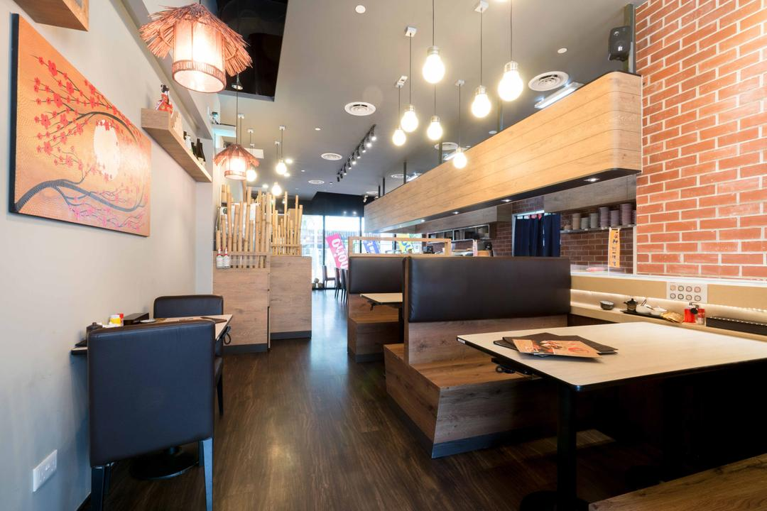 Kinsa Sushi (HillV2), Unity ID, Traditional, Commercial, Shop Interior, Japanese, F B, Brick Walls, Wall Art, Wall Decor, Wall Painting, Pendant Lamps, Light Bulb Pendant Lamps, Hanging Lamps