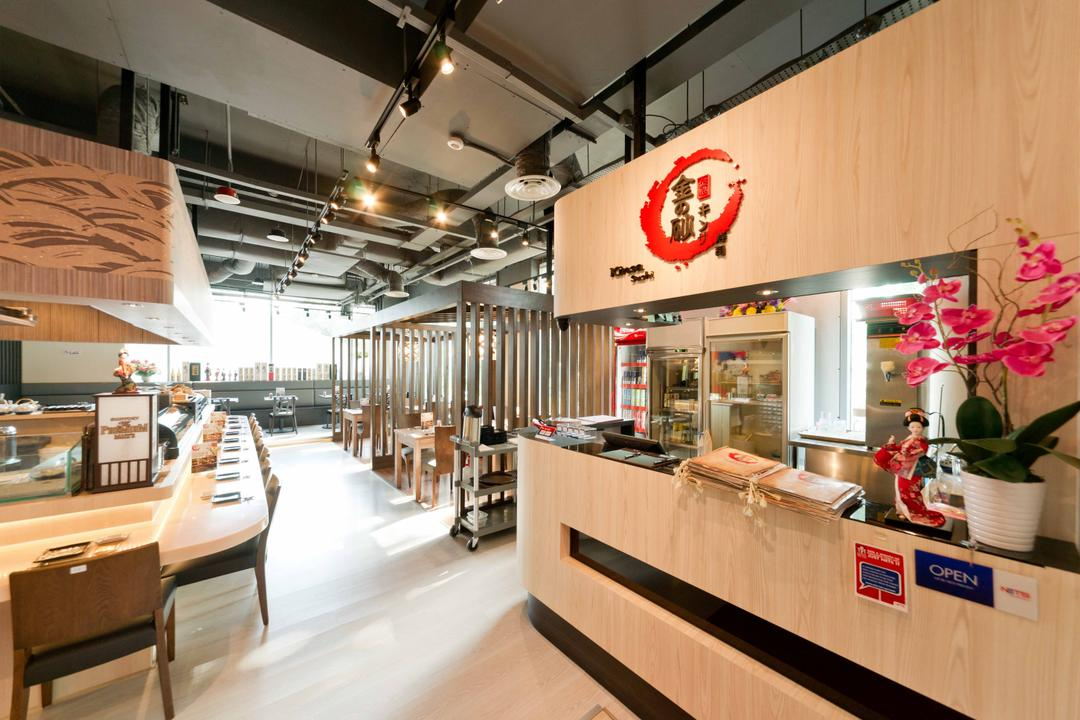 Kinsa Sushi (Ang Mo Kio), Unity ID, Traditional, Commercial, Wood, Wooden Elements, Brown, Japanese, Shop Interior, Counter, Zen, Track Lighting, Exposed Ceiling, Wooden Beams