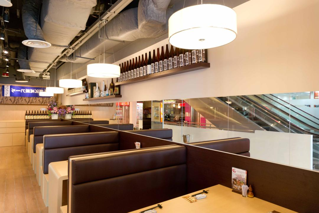 Kinsa Sushi (Ang Mo Kio), Unity ID, Traditional, Commercial, Japanese, F B, Shop Interior, Floating Shelves, Exposed Ceiling, Hanging Lamp, Pendant Lamp