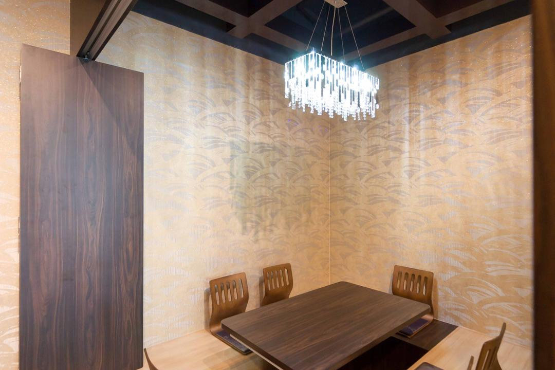 Kinsa Sushi (Ang Mo Kio), Unity ID, Traditional, Commercial, Japanese, F B, Shop Interior, Floor Dining Table, Japanese Dining Furniture, Hanging Lamps, Pendant Lamps, Wooden Flooring, Wallpaper