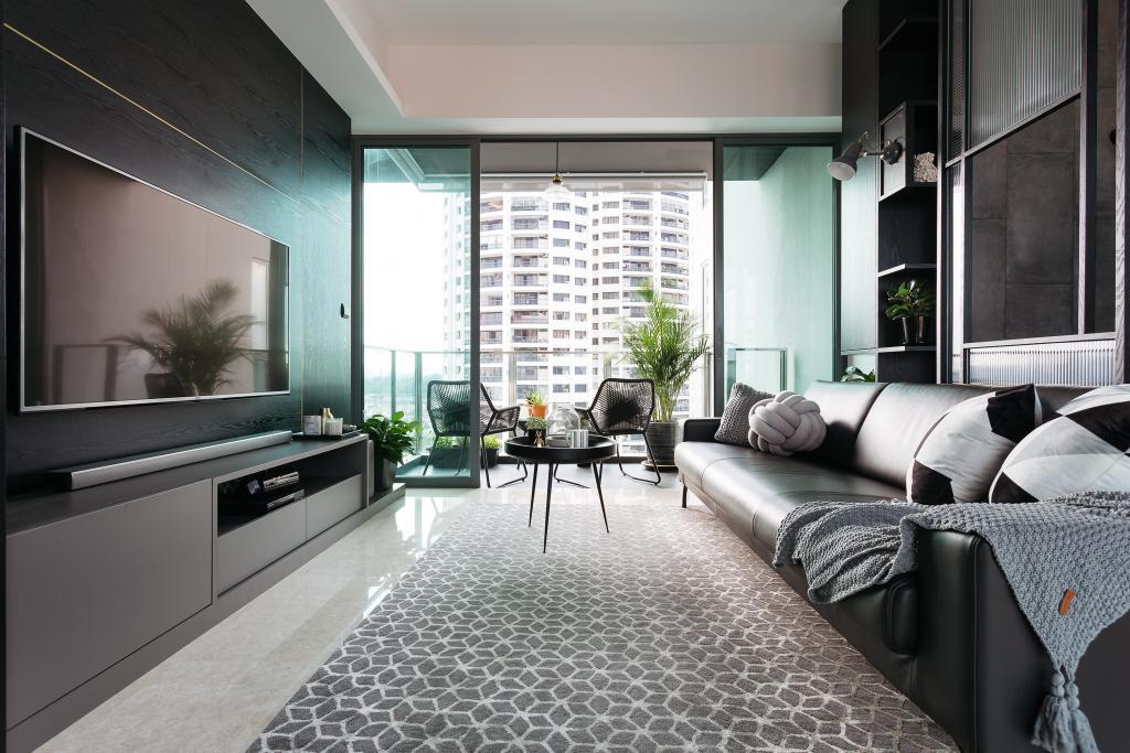 Contemporary, Condo, Living Room, Thomson Three, Interior Designer, Habit, Balcony, Indoors, Room, Furniture, Table