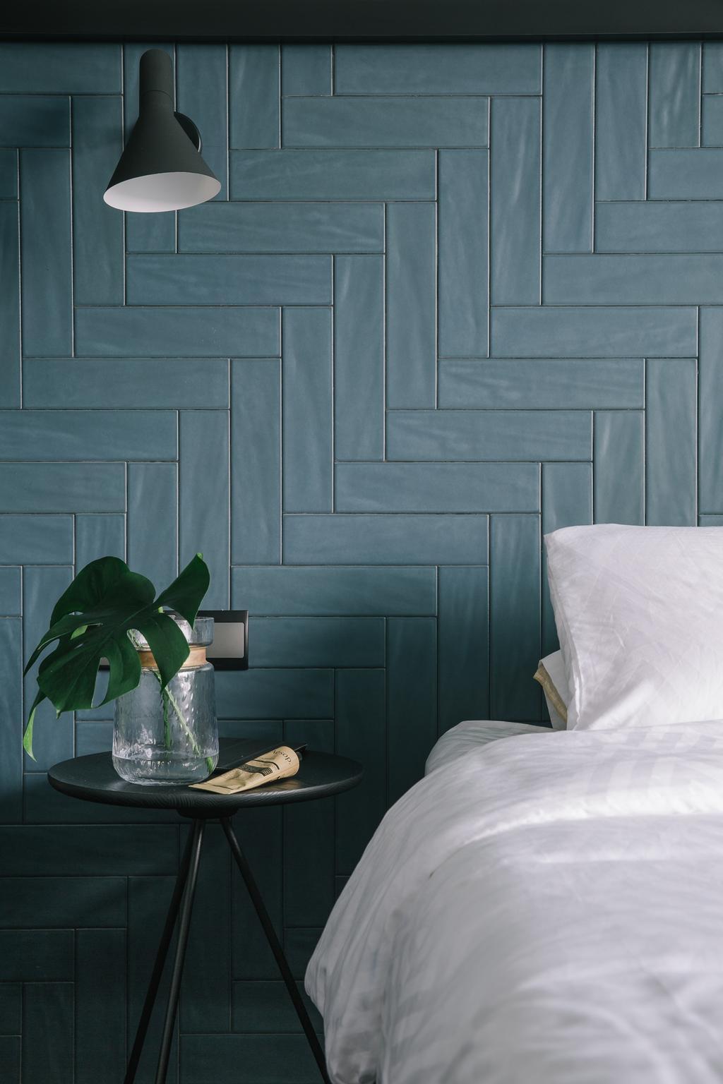 Contemporary, Condo, Bedroom, Thomson Three, Interior Designer, Habit, Chevron, Tiles, Blue Tiles, Flora, Jar, Plant, Potted Plant, Pottery, Vase