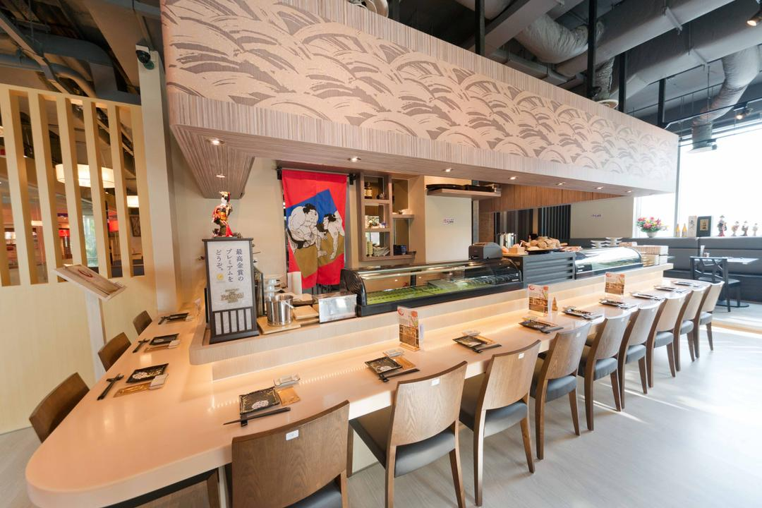Kinsa Sushi (Ang Mo Kio), Unity ID, Traditional, Commercial, Japanese, F B, Dining Table, Brown, Wood Elements, Wooden Beams, Dining Chairs