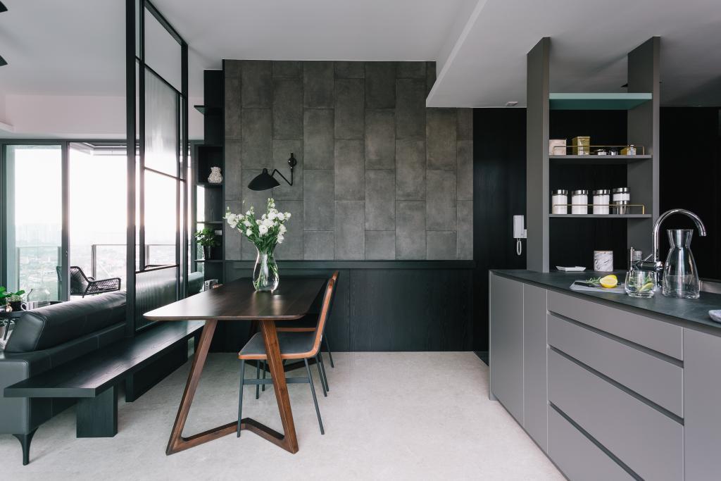 Contemporary, Condo, Dining Room, Thomson Three, Interior Designer, Habit, Dining Table, Furniture, Table, Shelf, Indoors, Interior Design, Room, Chair