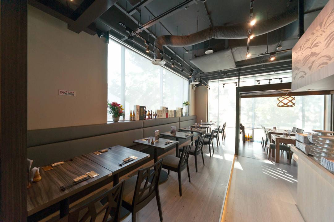 Kinsa Sushi (Ang Mo Kio), Unity ID, Traditional, Commercial, Dining Tables, Dining Chairs, Japanese, F B, Shop Interior, Exposed Ceiling, Wooden Beams, Track Lighting