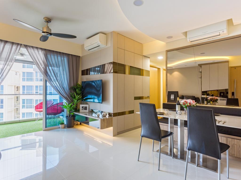 Contemporary, Condo, Living Room, Tampines Trilliant, Interior Designer, M3 Studio, Chair, Furniture, Indoors, Interior Design, Dining Table, Table
