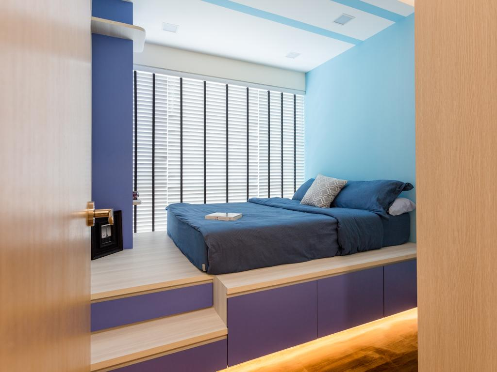 Contemporary, Condo, Bedroom, Tampines Trilliant, Interior Designer, M3 Studio, Kids Room, Boys Room, Children, Blue, Platform Bed