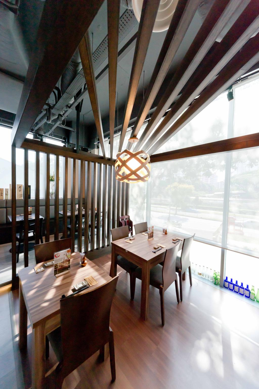 Kinsa Sushi (Ang Mo Kio), Commercial, Interior Designer, Unity ID, Traditional, Dining Table, Dining Chair, Japanese, F B, Shop Interior, Exposed Ceiling, Wooden Beams, Pendant Lamps, Hanging Lamps