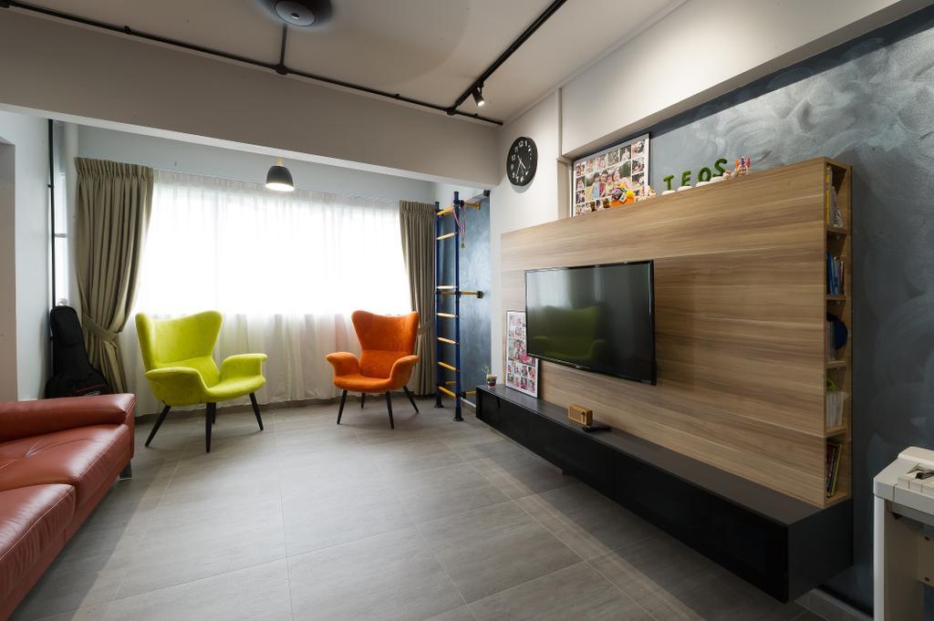 Scandinavian, HDB, Living Room, Hougang Street 92, Interior Designer, ELPIS Interior Design, Industrial, Indoors, Interior Design, Couch, Furniture
