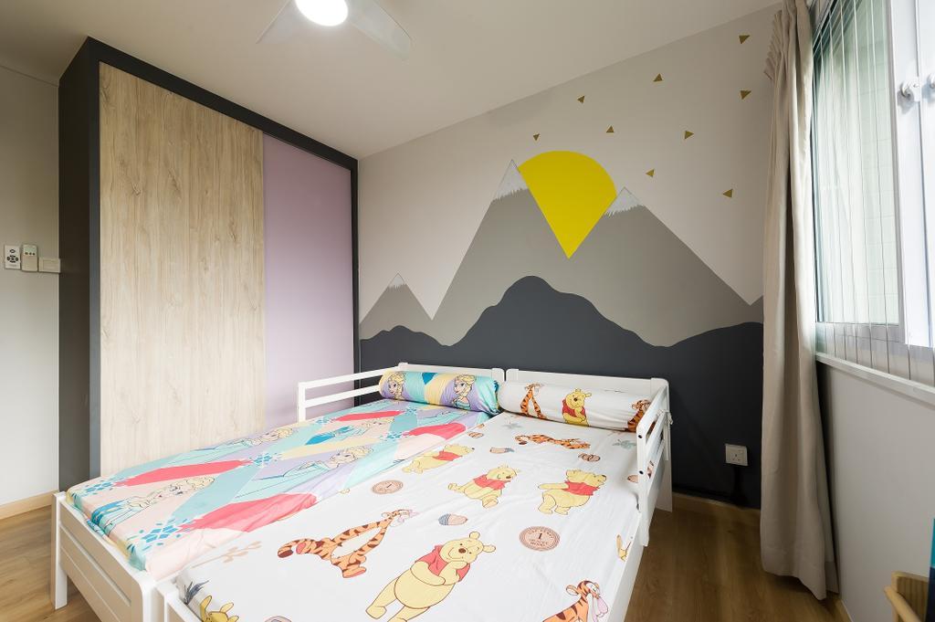Scandinavian, HDB, Bedroom, Hougang Street 92, Interior Designer, ELPIS Interior Design, Industrial, Bed, Furniture, Indoors, Interior Design, Room