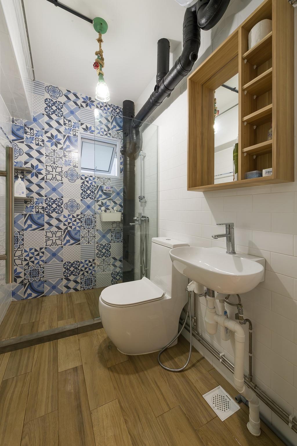 Scandinavian, HDB, Bathroom, Hougang Street 92, Interior Designer, ELPIS Interior Design, Industrial, Indoors, Interior Design, Room, Architecture, Building, Skylight, Window