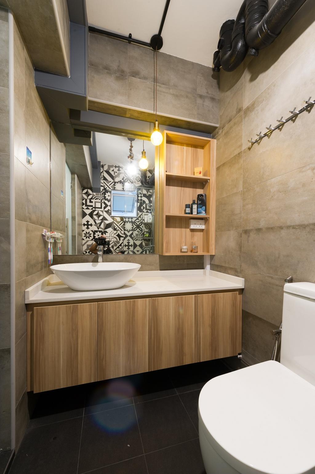 Scandinavian, HDB, Bathroom, Hougang Street 92, Interior Designer, ELPIS Interior Design, Industrial, Bookcase, Furniture, Indoors, Interior Design, Room