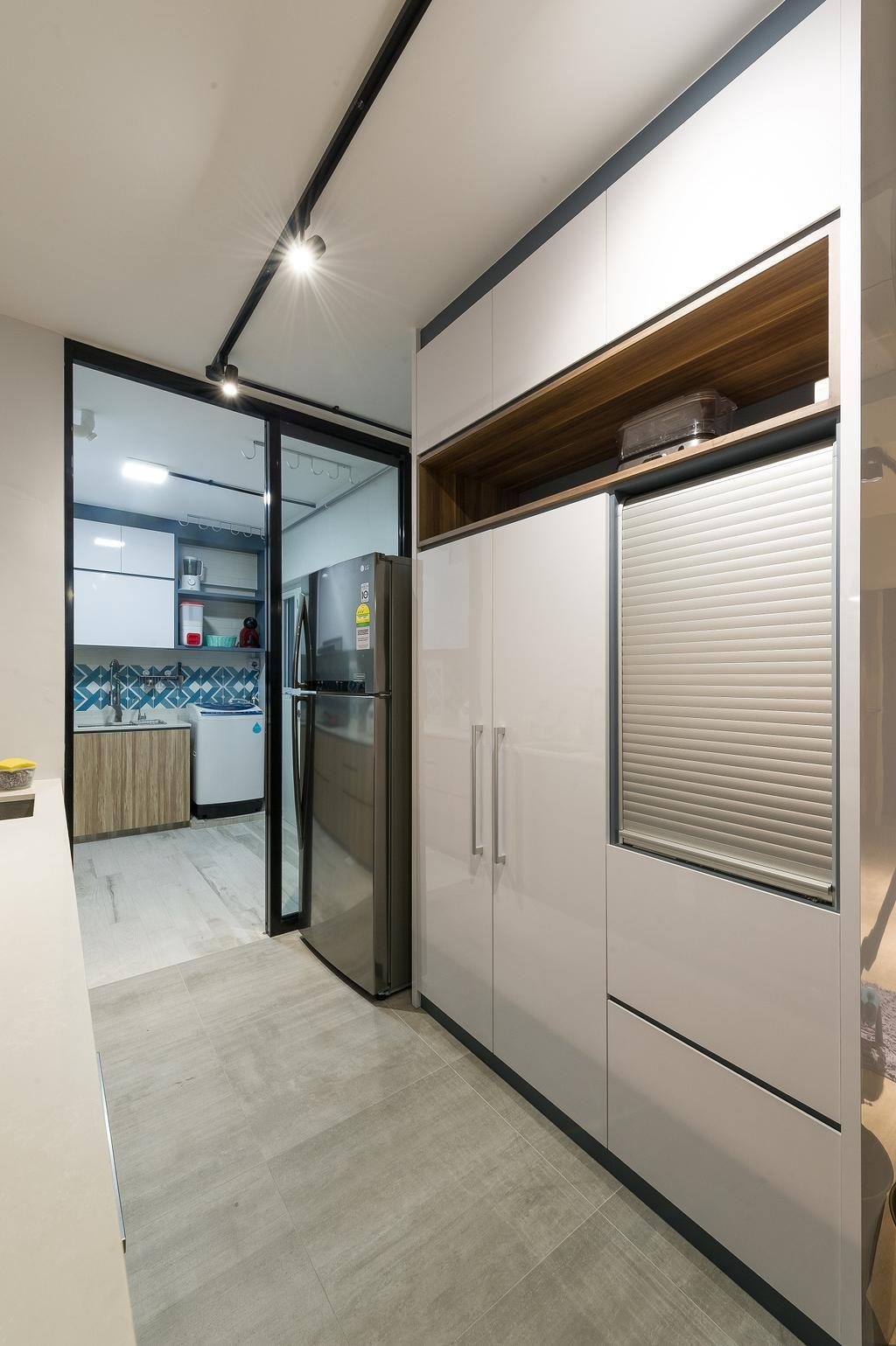 Scandinavian, HDB, Kitchen, Hougang Street 92, Interior Designer, ELPIS Interior Design, Industrial, Door, Folding Door