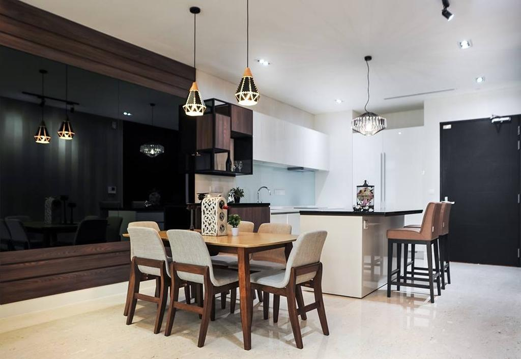 Contemporary, Condo, Dining Room, Banyan Tree, Pavilion, Interior Designer, Spazio Design Sdn Bhd, Minimalistic, Dining Table, Furniture, Table, Indoors, Interior Design, Room, Chair, Electronics, Entertainment Center, Home Theater